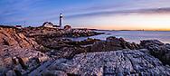Sunrise at the Portland lighthouse initiates Another New England Day, The Portland Head Light, Portland, Maine, USA