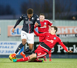 Falkirk's Myles Hippolyte and Ayr United's Michael Rose. Falkirk 1 v 1 Ayr United, Scottish Championship game played 14/1/2017at The Falkirk Stadium .