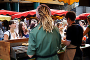 Organic Veggie Burger stall. Borough Market is a thriving Farmers market near London Bridge. Saturday is the busiest day.