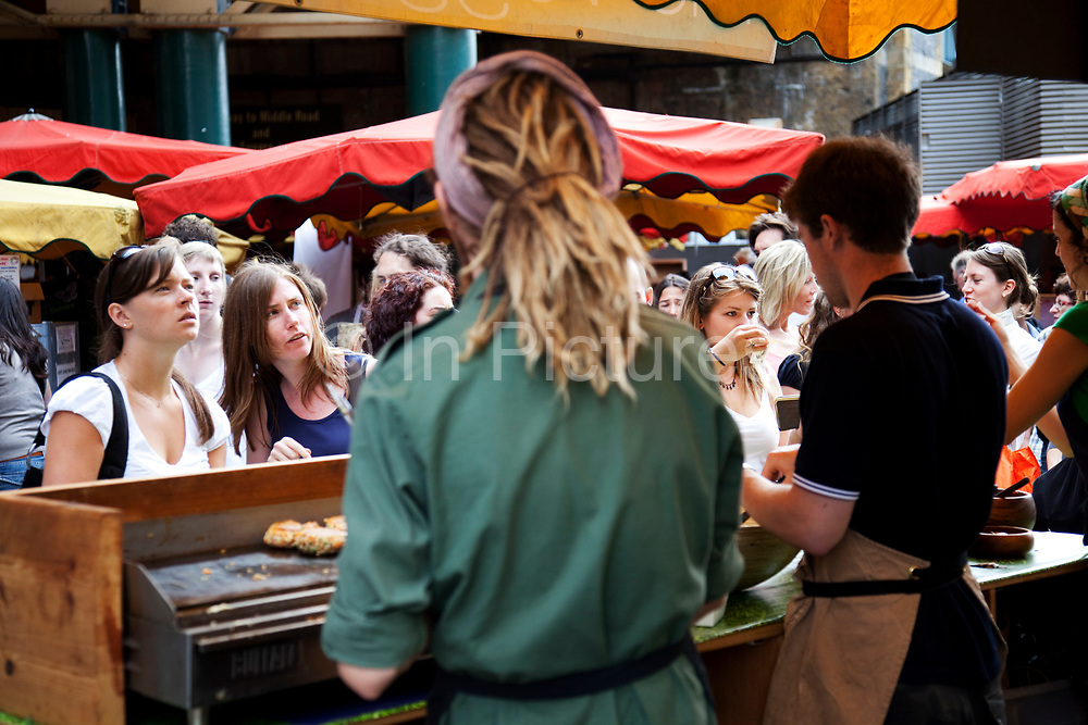 Organic Veggie Burger stall. Borough Market is a thriving Farmers market near London Bridge. Saturday is the busiest day.