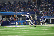 Penn State Nittany Lions kickoff specialist Jordan Stout (98) kicks off after a score against the Memphis Tigers during the game of the NCAA Cotton Bowl Classic football game, Saturday, Dec. 28, 2019, in Arlington, Texas. Penn State defeated Memphis 53-39. (Mario Terrana/Image of Sport)