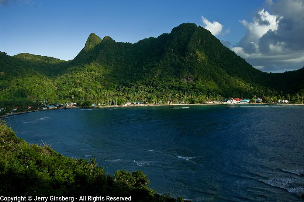 Mount Alava rises above Vatia Bay on the north coast on Tutuila Island, American Samoa.