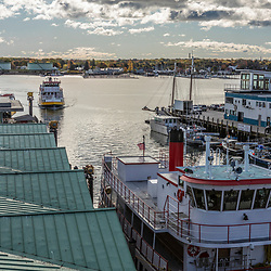 The Maine State Ferry makes it's way into its dock in Portland, Maine.