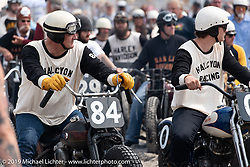 Rob Bowman (84) and Alex Bowman (0)on their Harley-Davidson racers (Knucklehead and Flathead) at TROG (The Race Of Gentlemen). Wildwood, NJ. USA. Saturday June 9, 2018. Photography ©2018 Michael Lichter.