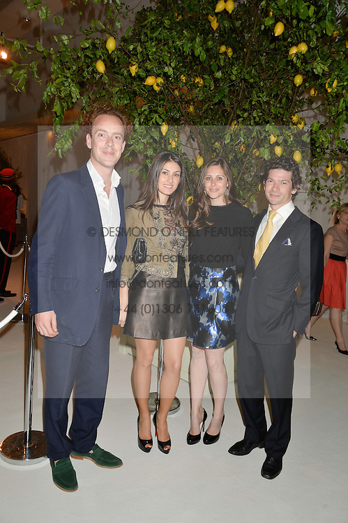 Left to right, TOM INSKIP, SAMIRA JAVADOVA and SAM & BELLA WALEY-COHEN  at a dinner hosted by Cartier in celebration of The Chelsea Flower Show held at The Hurligham Club, London on 19th May 2014.
