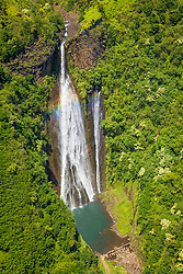 Manawaiopuna Falls, featured in the movie Jurassic Park, Hanapepe Valley, Kauai, Hawaii, USA