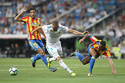 August 27, 2017 - Madrid, Spain - Benzema with the ball between Parejo and Vezo. LaLiga Santander matchday 2 between Real Madrid and Valencia. The final score was 2-2, Marco Asensio scored twice for Real Madrid. Carlos Soler and Kondogbia did it for Valencia. Santiago Bernabeu Stadium, august 27, 2017. Photo by  (Credit Image: © |Antonio Pozo |  Media Expre/VW Pics via ZUMA Wire)