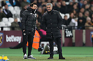 Jose Mourinho, the Manchester United manager ®  with Rui Faria, the Manchester United assistant manager on the touchline. Premier league match, West Ham Utd v Manchester Utd at the London Stadium, Queen Elizabeth Olympic Park in London on Monday 2nd January 2017.<br /> pic by John Patrick Fletcher, Andrew Orchard sports photography.