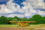 Ron Alexander's Piper J3 Cub, in the field at Peachstate Aerodrome in Williamson, Georgia.