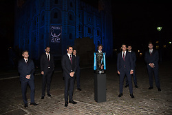 November 9, 2017 - London, England, United Kingdom - The World's top eight players attend the 2017 Nitto ATP Finals Official Launch, presented by Moet & Chandon, at the Tower of London. (L-R) David Goffin of Belgium, Marin Cilic of Croatia, Roger Federer of Switzerland, Dominic Thiem of Austria, Alexander Zverev of Germany, Rafael Nadal of Spain, Grigor Dimitrov of Bulgaria and Jack Sock of The United States pose for a group photo during the The Official Launch ATP Finals at Tower of London on November 9, 2017  (Credit Image: © Alberto Pezzali/NurPhoto via ZUMA Press)