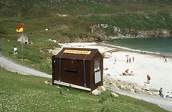 Lifeguard hut on coast in Cornwall,