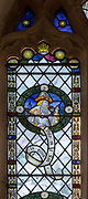 Stained glass window of Prophet Isaiah in church of Saint Margaret, South Elmham, Suffolk, England, UK c 1917