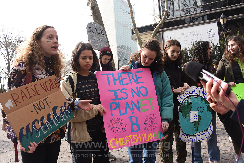Joining more than a million young people worldwide on Friday, March 15th, 2019, thousands of students walked out of school in New York City protesting government inaction over climate change. Marchers began gathering at over a dozen locations, including City Hall and Columbus Circle in Manhattan, the rally culminating in a march alongside Central Park to the steps of the American Museum of Natural History.