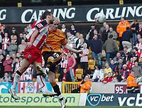 Photo: Kevin Poolman.<br />Wolverhampton Wanderers v Southampton. Coca Cola Championship. 31/03/2007. Andy Keogh (R) of Wolves has his header hit the bar.