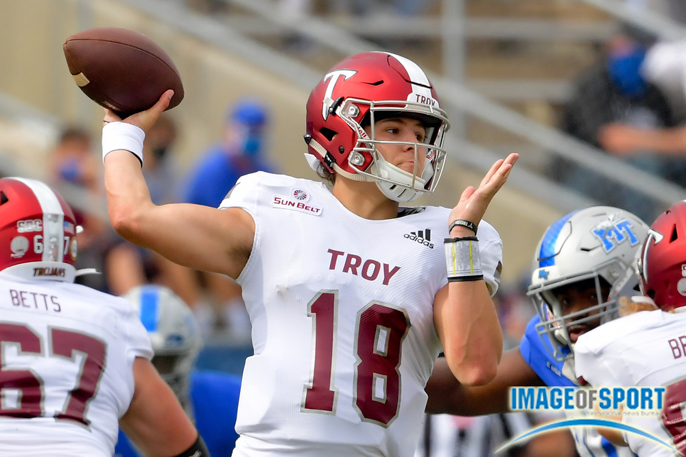 """Troy Trojans quarterback Gunnar Watson (18) passes against the Middle Tennessee Blue Raiders during the first half at Johnny """"Red"""" Floyd Stadium in Murfreesboro, Tenn., Saturday, Sept. 19, 2020. (Jim Brown/Image of Sport)"""