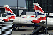 Grounded planes during delays at Heathrow Airport in West London after many planes were grounded for a long period of time due to the volcanic ash cloud which spread from Iceland. Scenes of chaos, frustration and disruption followed. London, UK.