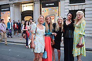 DAVINA HARBORD; KATY REDDMAN; MADDIE CHESTERTON; KOKO FENNELL; EMERALD FENNELL, Vogue's Fashion night out special opening of the Halcyon Gallery.  New Bond St. London. 6 December 2012.