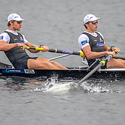 Tom Murray & Michael Brake , New Zealand elite  Mens Coxless Pair <br /> <br /> Racing the Semi-Finals at FISA World Rowing Cup III on Saturday 13 July 2019 at the Willem Alexander Baan,  Zevenhuizen, Rotterdam, Netherlands. © Copyright photo Steve McArthur / www.photosport.nz