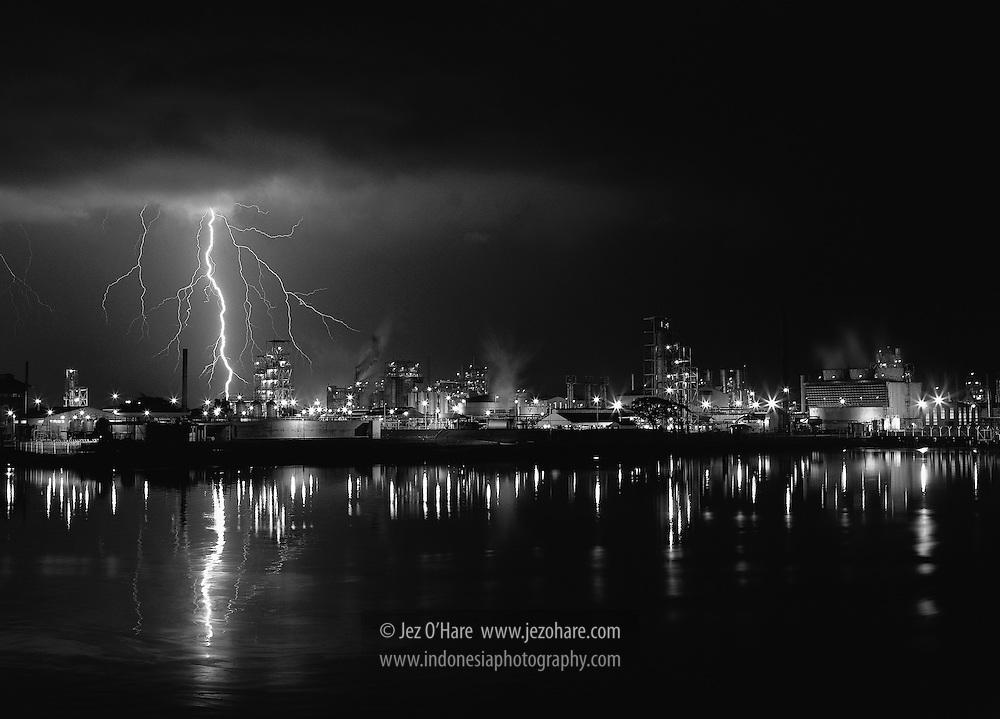 Lightning at Sungai Gerong oil refinery, Palembang, South Sumatra, Indonesia.