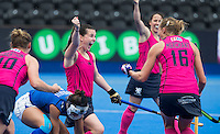 LONDON -  Unibet Eurohockey Championships 2015 in  London.  Scotland v Italy. Scottish.  Scottish Leigh Fawcett   (m) scored 1-0.   WSP Copyright  KOEN SUYK