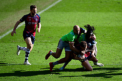 Henry Purdy of Bristol Bears is tackled by Aaron Morris of Harlequins and Gabriel Ibitoye of Harlequins - Mandatory by-line: Ryan Hiscott/JMP - 08/03/2020 - RUGBY - Ashton Gate - Bristol, England - Bristol Bears v Harlequins - Gallagher Premiership Rugby
