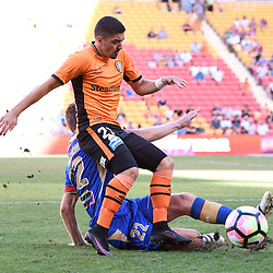 BRISBANE, AUSTRALIA - JANUARY 7: Dimitri Petratos of the Roar is tackled by Lachlan Jackson of the Jets during the round 14 Hyundai A-League match between the Brisbane Roar and Newcastle Jets at Suncorp Stadium on January 7, 2017 in Brisbane, Australia. (Photo by Patrick Kearney/Brisbane Roar)
