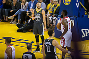 Golden State Warriors guard Stephen Curry (30) reacts to missing a lay up against the Houston Rockets during Game 4 of the Western Conference Finals at Oracle Arena in Oakland, Calif., on May 22, 2018. (Stan Olszewski/Special to S.F. Examiner)