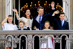 Crown Prince Frederik, Crown Princess Mary, Prince Christian, Princess Isabella, Prince Vincent and Princess Josephine celebrate 50th birthday of Crown Prince Frederik at the royal palace in Copenhagen, Denmark, on May 26, 2018. Photo by Robin Utrecht/ABACAPRESS.COM