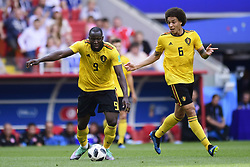 June 23, 2018 - Moscou, Russie - MOSCOW, RUSSIA - JUNE 23 : Romelu Lukaku forward of Belgium and Axel Witsel midfielder of Belgium pictured during the FIFA 2018 World Cup Russia group G phase match between Belgium and Tunisia at the Spartak Stadium on June 23, 2018 in Moscow, Russia, 23/06/2018  (Credit Image: © Panoramic via ZUMA Press)