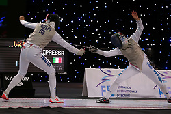 ALGIERS, Feb. 04, 2018  Italian players Alice Volpi(L) and Erica Cipressa compete during the individual final match of Women's Foil World Championships in Algiers, Algeria, Feb. 3, 2018. Alice Volpi won Erica Cipressa. (Credit Image: © Xinhua via ZUMA Wire)