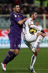 16.01.2012, Stadio Artemio Franchi, Florenz, ITA, TIM Cup, AC Florenz vs AS Rom, Viertelfinale, im Bild Nenad Tomovic Fiorentina Miralem Pjanic Roma // during the Italian TIM Cup quarterfinal match between ACF Fiorentina and AS Roma at the Artemio Franchi Stadium, Florence, Italy on 2013/01/16. EXPA Pictures © 2013, PhotoCredit: EXPA/ Insidefoto/ Paolo Nucci..***** ATTENTION - for AUT, SLO, CRO, SRB, BIH and SWE only *****