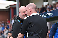 Rochdale Manager, Keith Hill  and Bradford City Manager Simon Grayson during the EFL Sky Bet League 1 match between Rochdale and Bradford City at Spotland, Rochdale, England on 21 April 2018. Picture by Mark Pollitt.