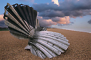Maggie Hambling shell scupture to those who drowned at sea. Aldeburgh, Suffolk, England, UK. .<br /> <br /> Visit our ENGLAND PHOTO COLLECTIONS for more photos to download or buy as wall art prints https://funkystock.photoshelter.com/gallery-collection/Pictures-Images-of-England-Photos-of-English-Historic-Landmark-Sites/C0000SnAAiGINuEQ