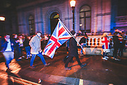 January 31, 2020, London, England, United Kingdom: Pro-Brexit supporters celebrate in London on Jan. 31, 2020 - as the UK leaves the European Union with 51. 9% of the UK population that voted to leave the EU in a referendum in June 2016. (Credit Image: © Vedat Xhymshiti/ZUMA Wire)