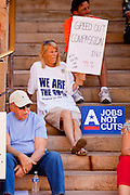 15 OCTOBER 2011 - PHOENIX, AZ:   People at a rally sponsored by MoveOn.org and several labor unions to press for job creation in Phoenix, AZ, Saturday. About 100 people attended the rally.  PHOTO BY JACK KURTZ