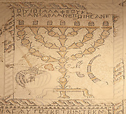 Israel, Galilee, Zippori National Park A mishnaic-period city with an abundance of mosaics. Details of the Temple Menorah on the Zodiac mosaic on the synagogue floor