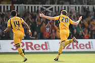 Kevin Feely of Newport celebrates scoring his side's second goal with Shaun Jeffers. Skybet football league two match, Newport county v Rochdale at Rodney Parade in Newport, South Wales on Saturday 3rd May 2014.<br /> pic by Mark Hawkins, Andrew Orchard sports photography.
