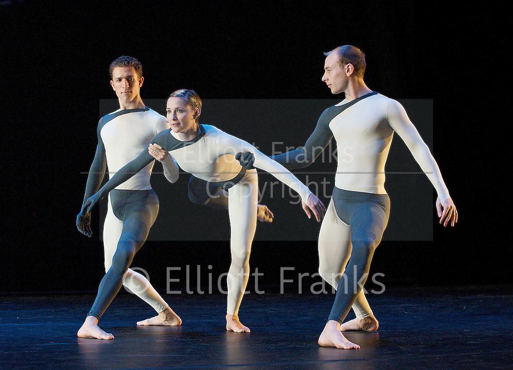 Nearly Ninety<br /> The Merce Cunningham Dance Company <br /> choreography by Merce Cunningham<br /> at The Barbican Theatre, London, Great Britain <br /> rehesrsal <br /> 26th October 2010 <br /> <br /> <br /> <br /> Daniel Madoff<br /> Andrea Weber<br /> John Hinrichs<br /> <br /> <br /> Photograph by Elliott Franks<br /> 2010©Elliott Franks
