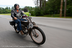 Steve Andreasen on the Motorcycle Cannonball coast to coast vintage run. Stage-1 (145-miles) from Portland, Maine to Keene, NH. Saturday September 8, 2018. Photography ©2018 Michael Lichter.