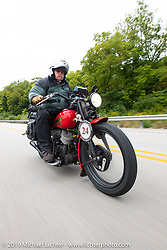 Joe Gimpel riding his 640cc 1940 Indian in the Cross Country Chase motorcycle endurance run from Sault Sainte Marie, MI to Key West, FL (for vintage bikes from 1930-1948). Stage 3 from Milwaukee, WI to Urbana, IL. USA. Sunday, September 8, 2019. Photography ©2019 Michael Lichter.