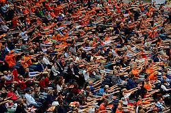03-10-2015 NED: Volleyball European Championship Semi Final Nederland - Turkije, Rotterdam<br /> Nederland verslaat Turkije in de halve finale met ruime cijfers 3-0 / Een goed gevuld Ahoy met 7000 Oranje support
