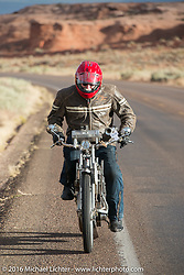 73 year-old artist, sculptor, photographer, and motorcycle-maniac Michael Gontesky of Virginia riding his 1911 Harley-Davidson 8A out of Page, Arizona on the Motorcycle Cannonball Race of the Century. Stage-12 ride from Page, AZ to Williams, AZ. USA. Thursday September 22, 2016. Photography ©2016 Michael Lichter.