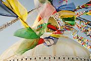 Bodnath Stupa Prayer flags. Kathmandu, Nepal. UNESCO World Heritage Site.