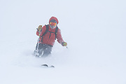 Colorado Sun reporter Jason Blevins skis in white-out conditions while accompanying Diamond Peaks Ski Patrol members on a duty day near Montgomery Pass, Feb. 6, 2021.