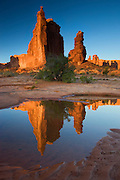The Courthouse Towers, Arches National Park, near Moab, Utah.