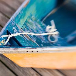 Skiff on the dock in Wellfleet Harbor in  Wellfleet, Massachusetts. Cape Cod.