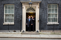 © Licensed to London News Pictures. 06/02/2017. London, UK. Israeli Prime Minister Benjamin Netanyahu (centre) leaves Downing Street after meeting British Prime Minister Theresa May. Photo credit : Tom Nicholson/LNP