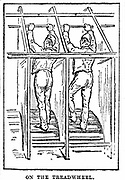 Prison discipline: Prisoners at hard labour on the treadwheel in an English 'local' jail. The prisoner had 15 minutes on, 5 minutes off the wheel, until his time was finished for the day. The treadwheel was often used to grind flour for the prison. From 'Cassell's Saturday Journal' London, 8 December 1888
