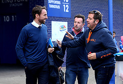 England Caretaker Manager Gareth Southgate speaks to fans as he arrives at The King Power Stadium for the Premier League fixture between Leicester City and Southampton - Mandatory by-line: Robbie Stephenson/JMP - 02/10/2016 - FOOTBALL - King Power Stadium - Leicester, England - Leicester City v Southampton - Premier League