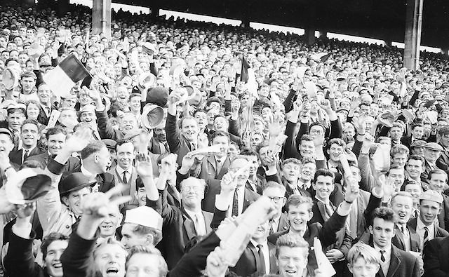 Wild supporters all set for a hectic game at the Kerry v. Derry All Ireland Minor Gaelic Football Final, 26th September 1965. Galway 0-12 Kerry 0-09.